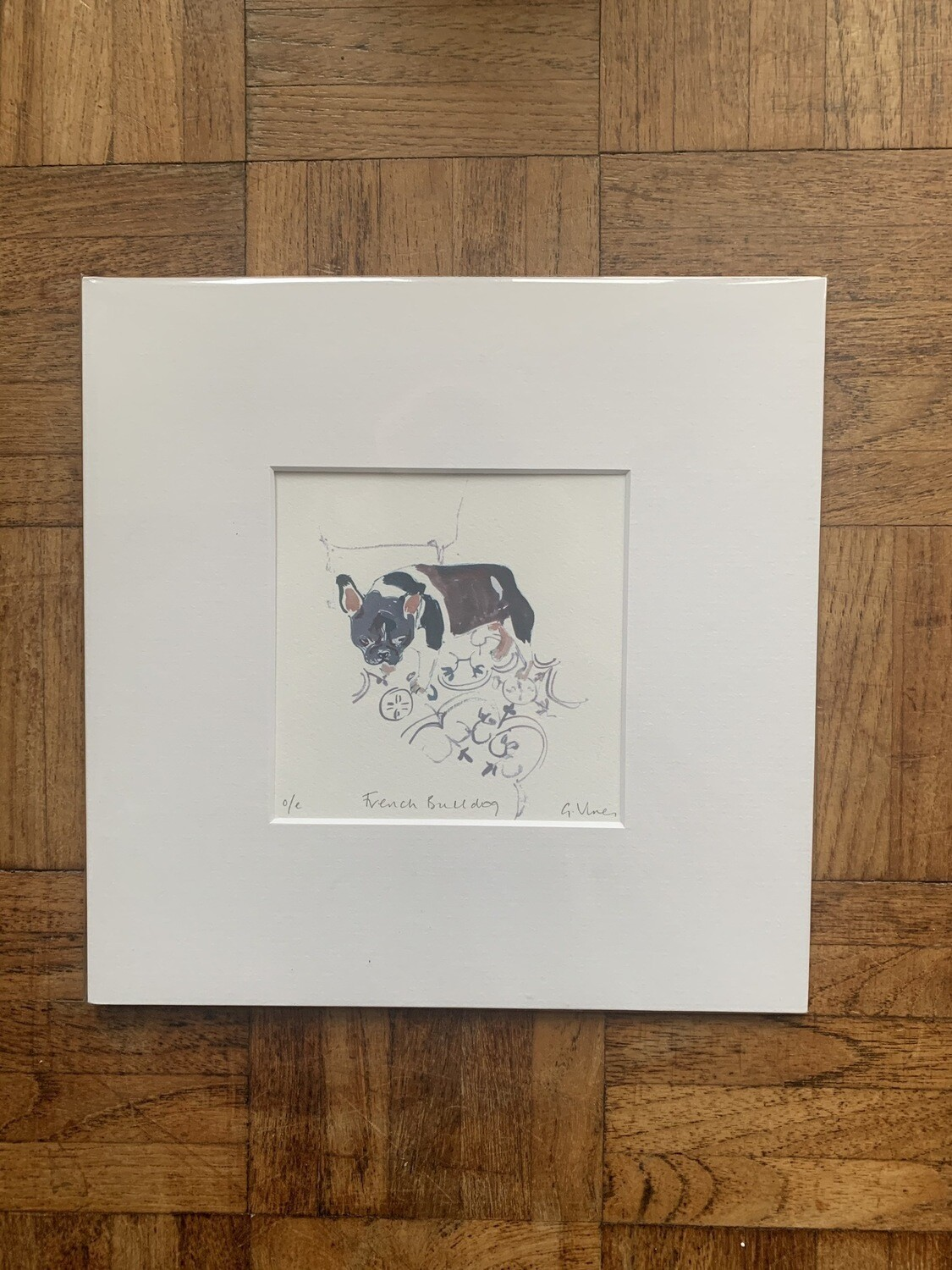 Art print of a French bulldog by Gill Vines