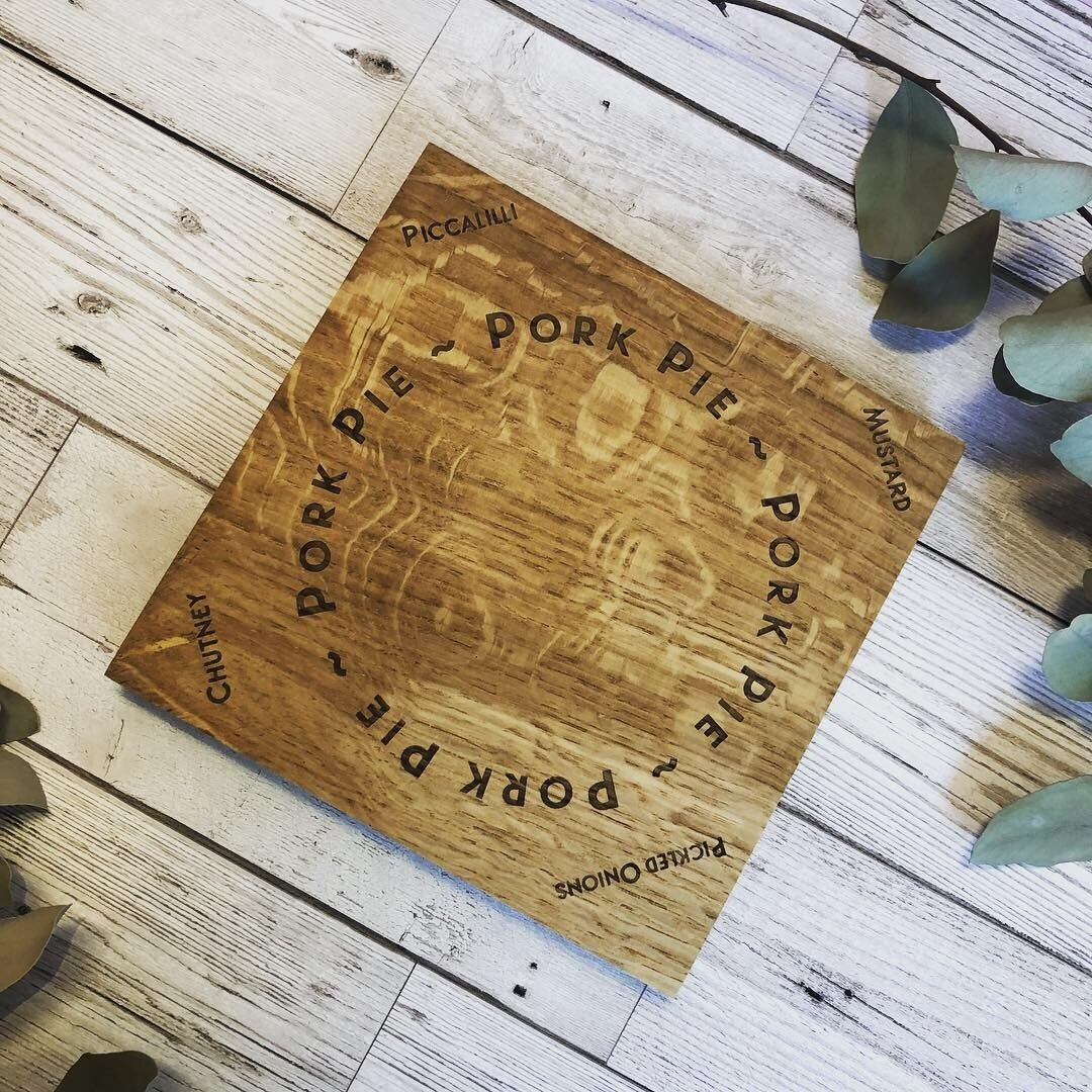 English Oak Engraved Wooden Pork Pie Board by LapageMade