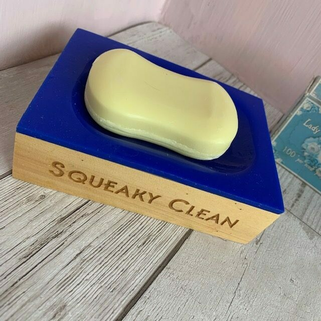 Engraved Yellow Cedar Soap Dish with Acrylic Top by LapageMade