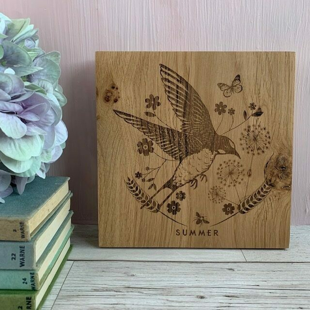 Seasons Engraved Solid English Oak Picture Art by LapageMade