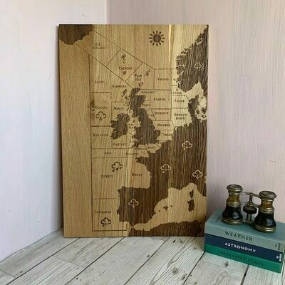 Shipping Forecast Engraved Solid English Oak Picture by LapageMade