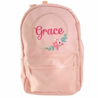 Children's Baby Pink Personalised Girls Backpack with Flowers