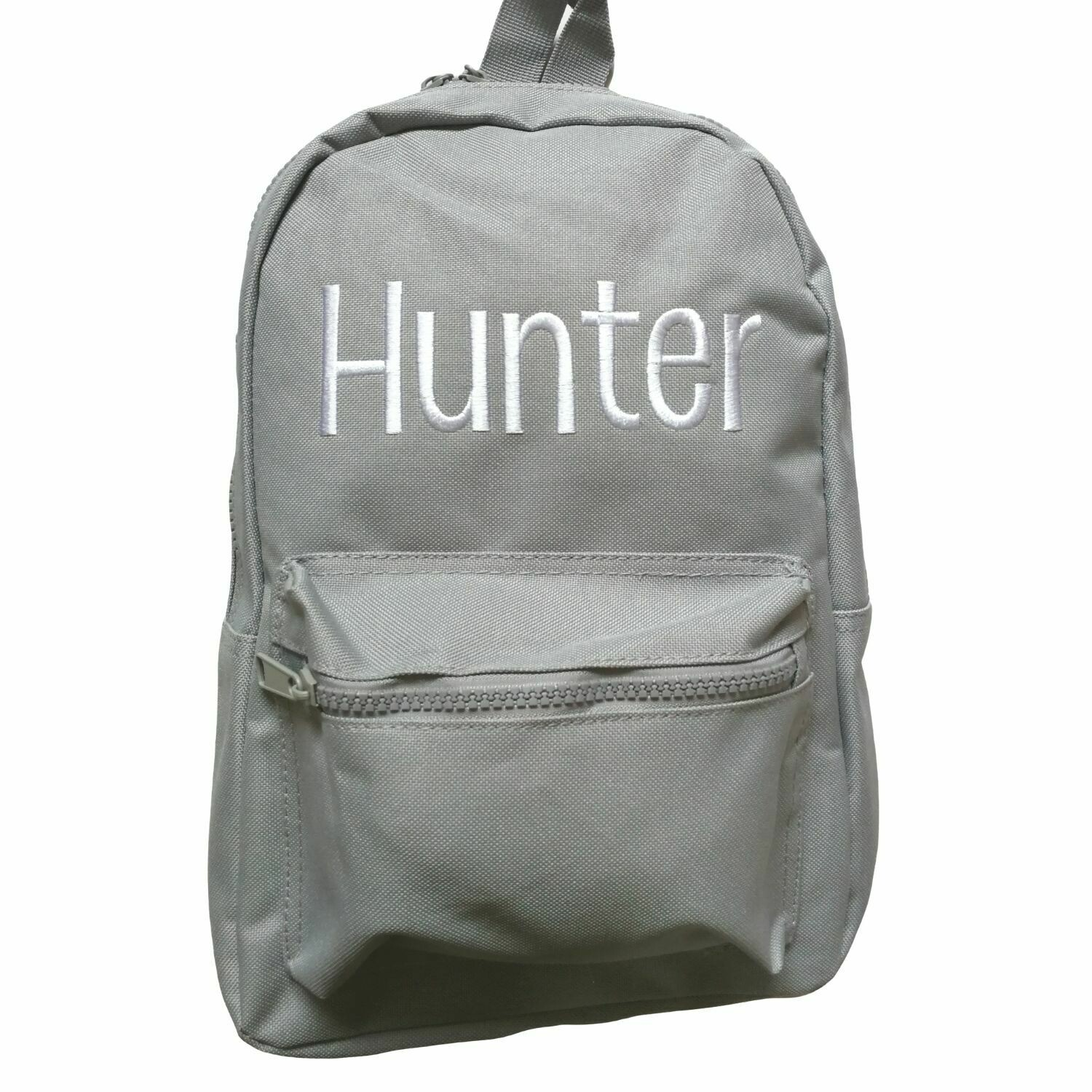 Children's Personalised Backpack Embroidered Grey