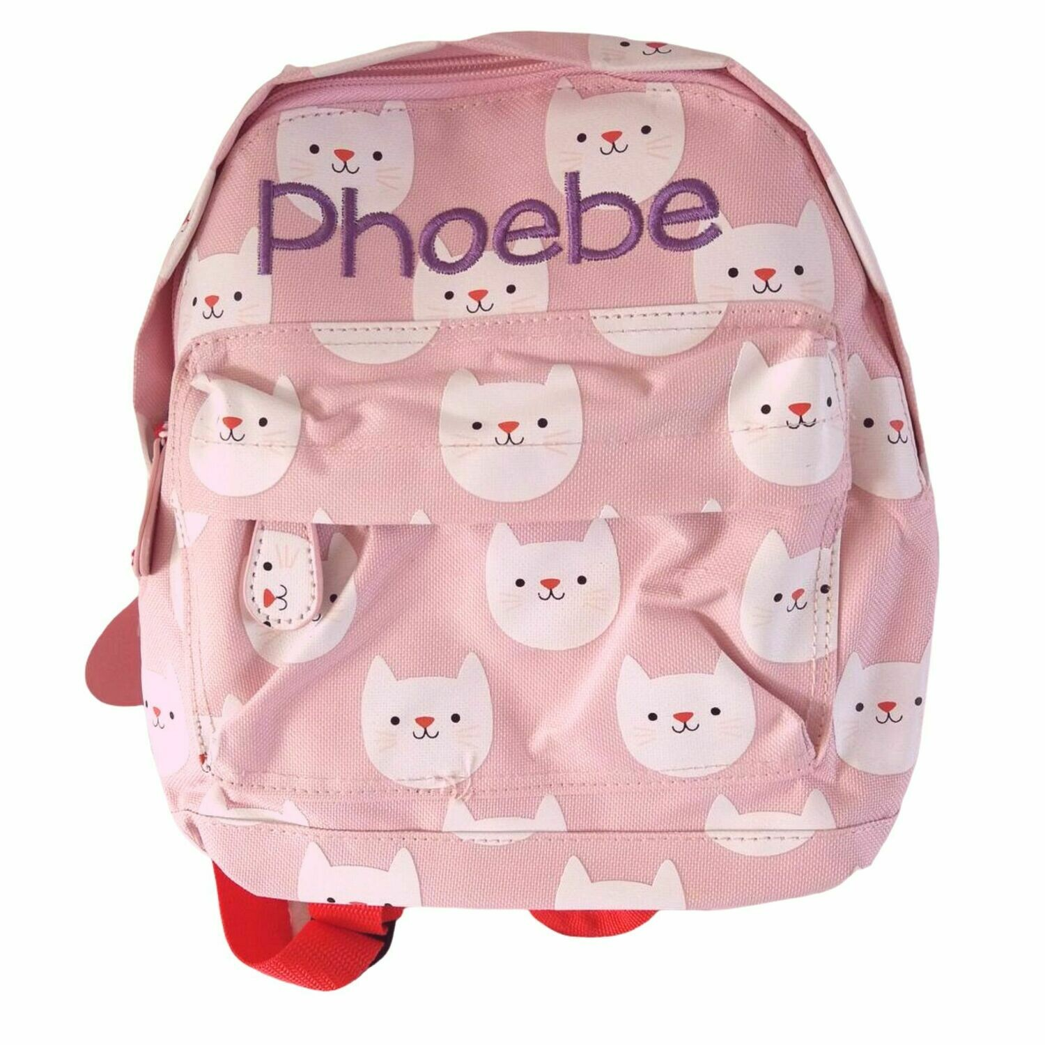 Embroidered Children's Personalised Backpack - Pink Cat