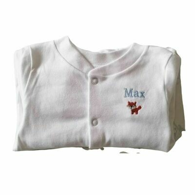Embroidered Personalised Baby Sleepsuit with Fox