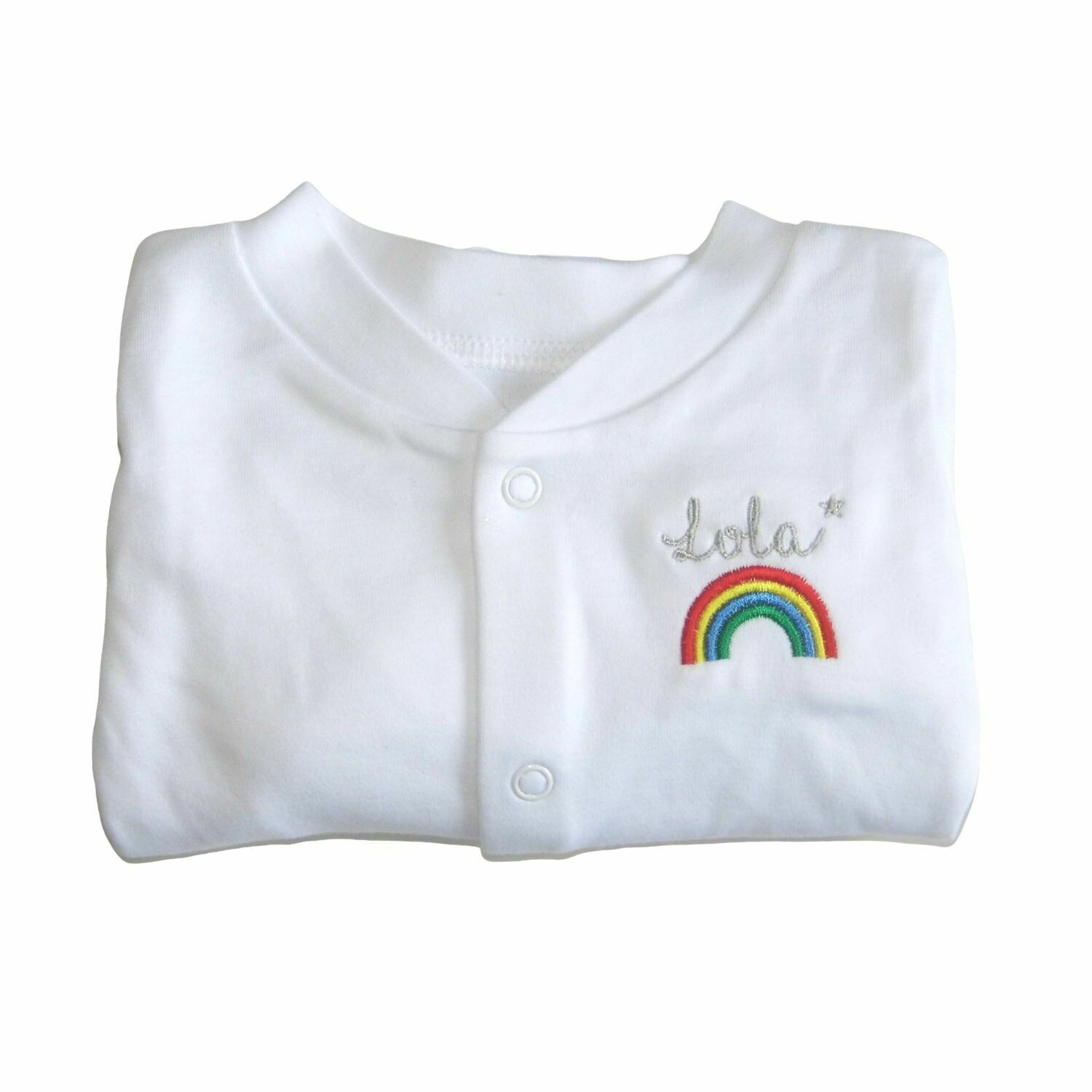 Personalised Rainbow Baby Sleepsuit with Embroidered Name