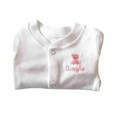 Personalised Sleepsuit with Embroidered Teddy Bear & Name