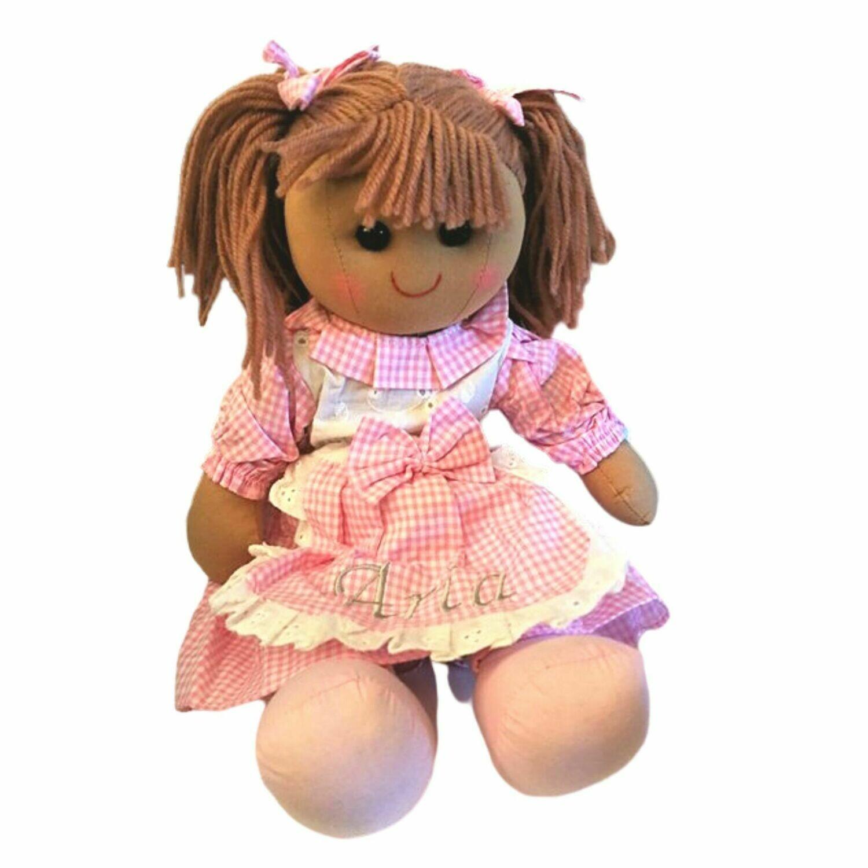 Pink Gingham 40cm Personalised Rag Doll