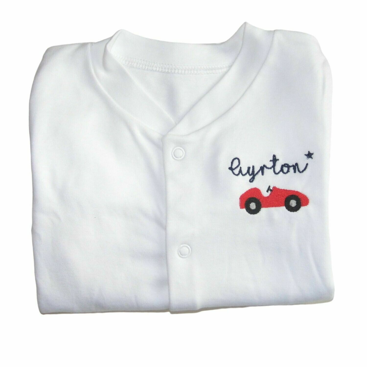 Personalised Baby Sleepsuit with Embroidered Racing Car