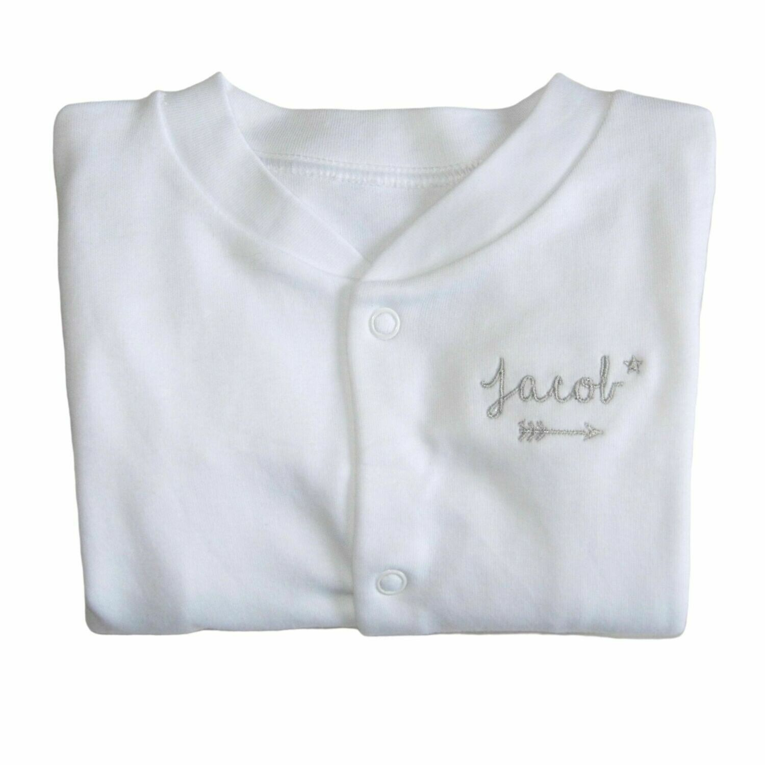 Personalised Baby Sleepsuit with Embroidered Name & Arrow