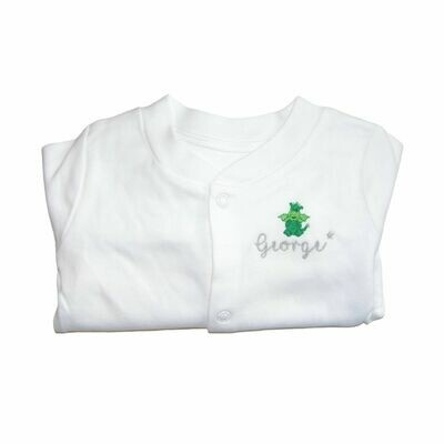 Personalised Baby Sleepsuit with Embroidered Name & Dragon