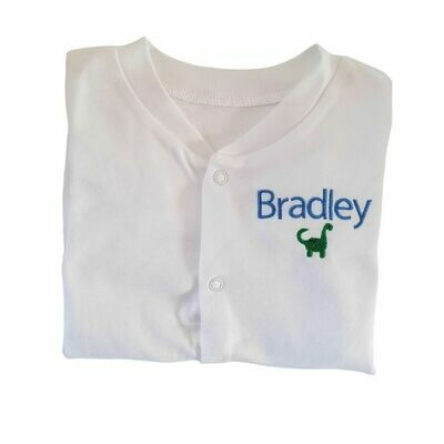 Personalised Dinosaur Sleepsuit with Embroidered Name