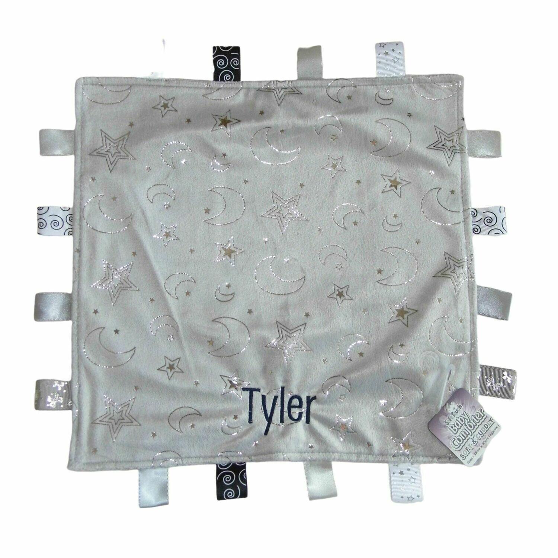 Personalised Baby Comfort Blanket Grey Moon