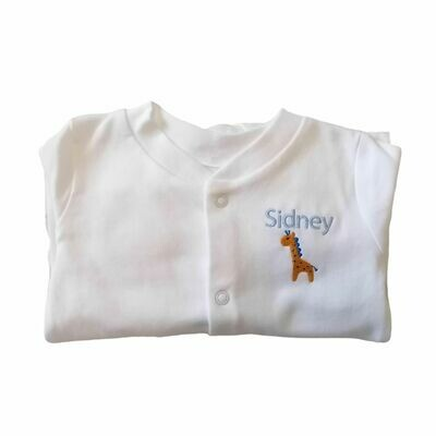 Personalised Baby Sleepsuit with Embroidered Name & Giraffe