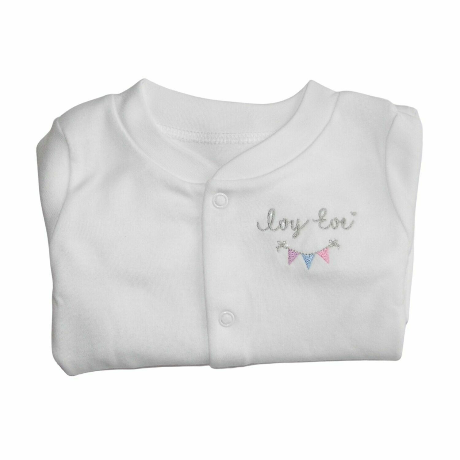 Personalised Baby Sleepsuit with Embroidered Name & Bunting