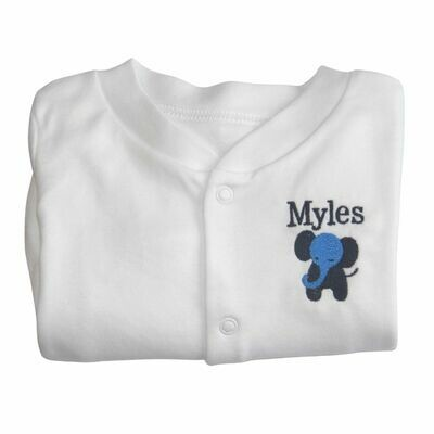 Personalised Elephant Sleepsuit with Embroidered Name