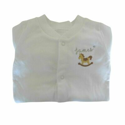 Personalised Baby Sleepsuit with Embroidered Rocking Horse