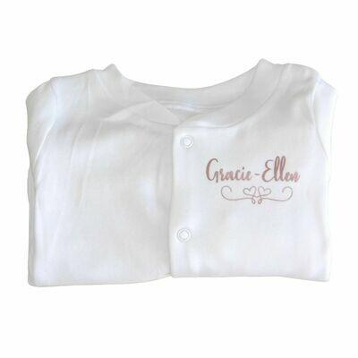 Personalised Sleepsuit with Vinyl Name & Heart Banner