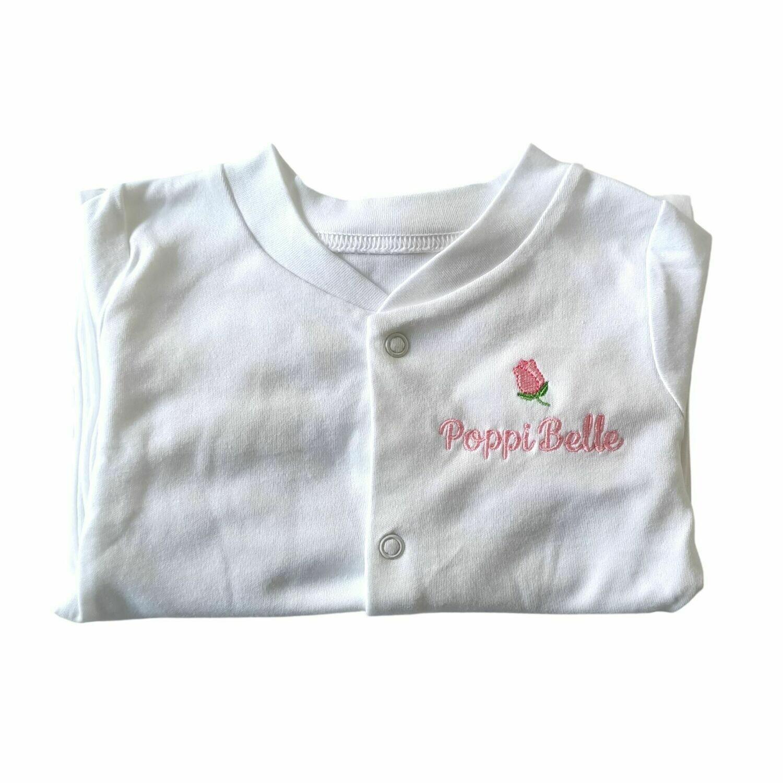 Flower Rose Personalised Baby Sleepsuit