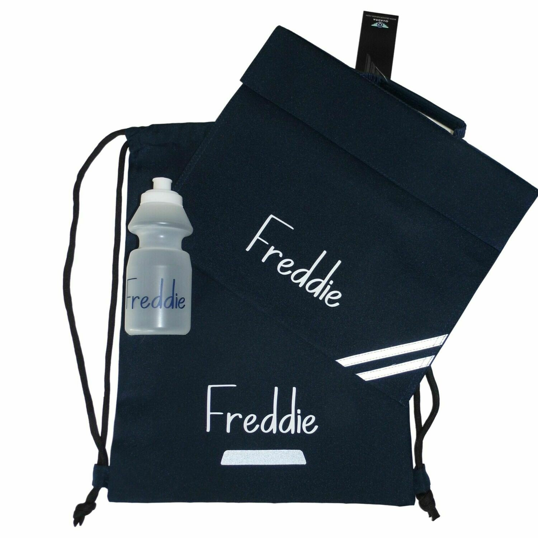 Personalised Back to School Bag Kit - Book Bag, Drawstring Bag & Bottle