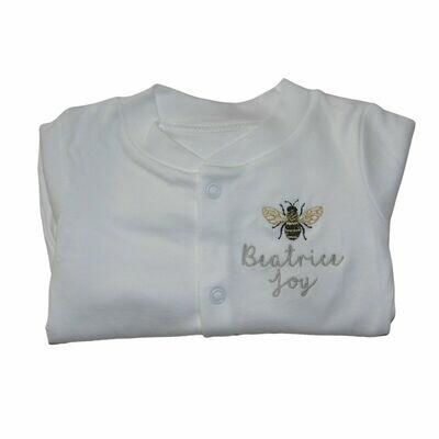 Personalised Bumble Bee Sleepsuit with Baby Name