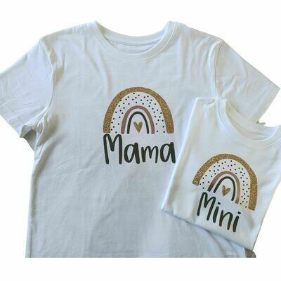 Personalised Mini & Mama Rainbow T-Shirt Set