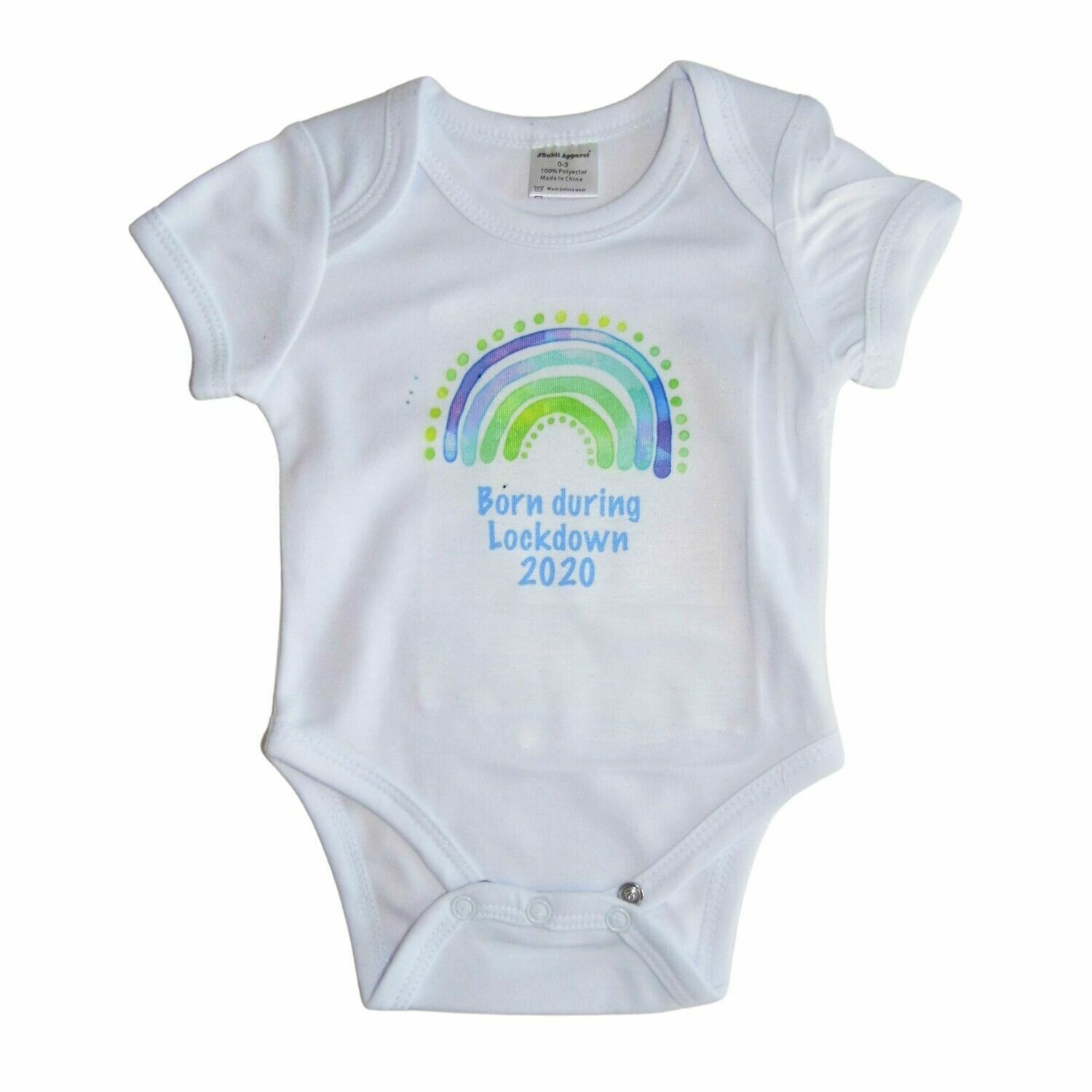 Personalised Baby Grow with Name and Blue Rainbow