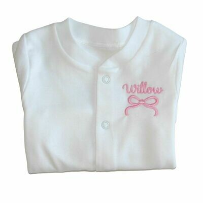 Personalised Baby Sleepsuit with Embroidered Name and Bow