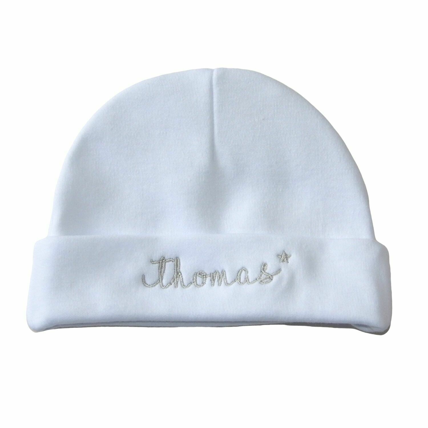 Personalised Baby Hat with Star & Name - Newborn to 3 Months