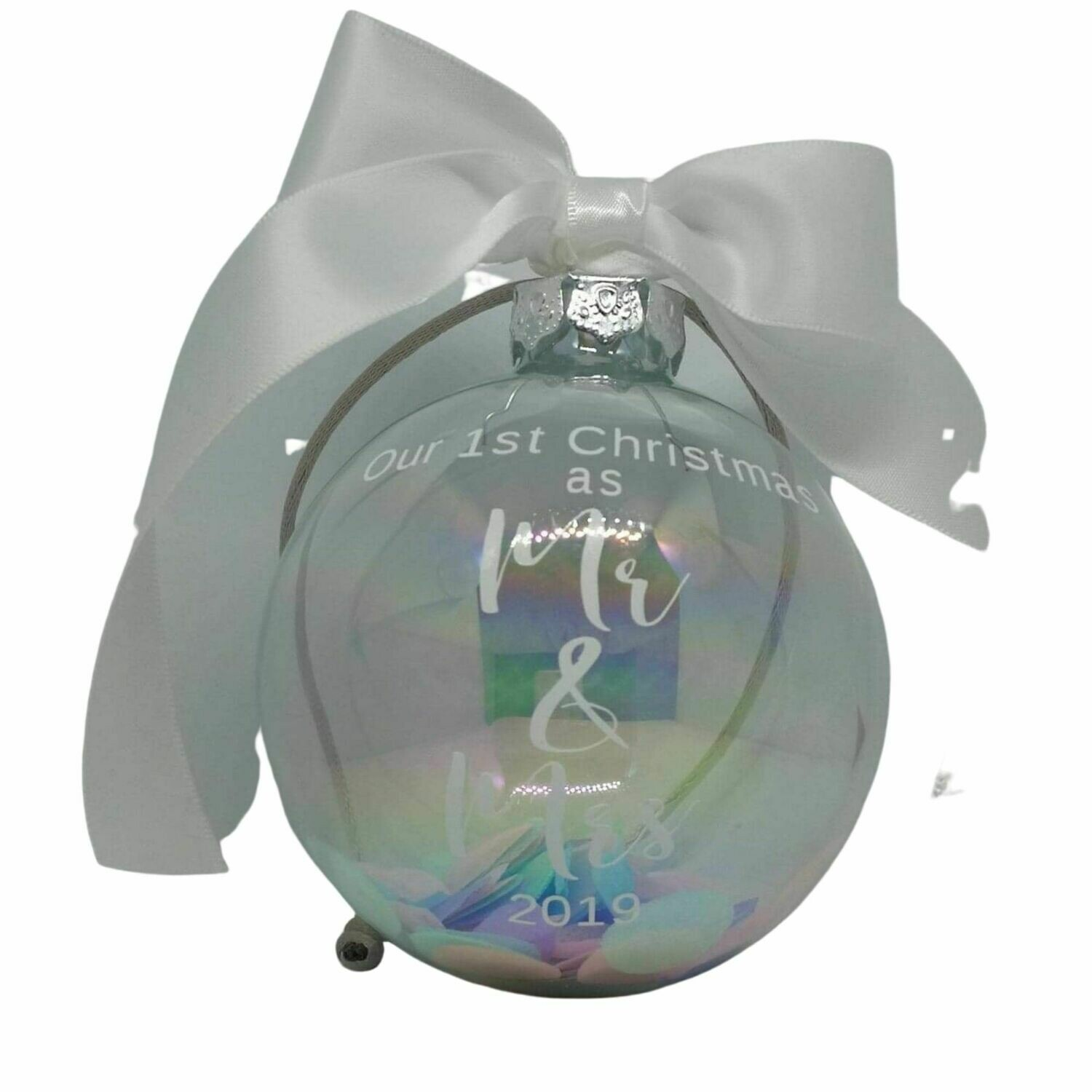 Mr and Mrs First Christmas Decoration Bauble  - 8cm