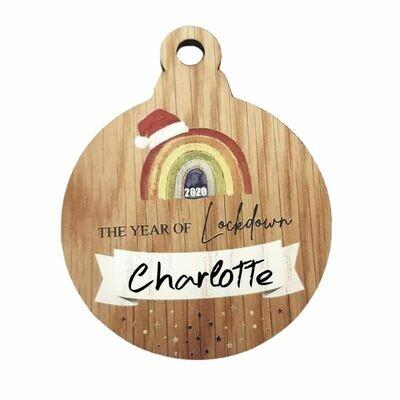Wooden Rainbow Christmas Decoration - Personalised
