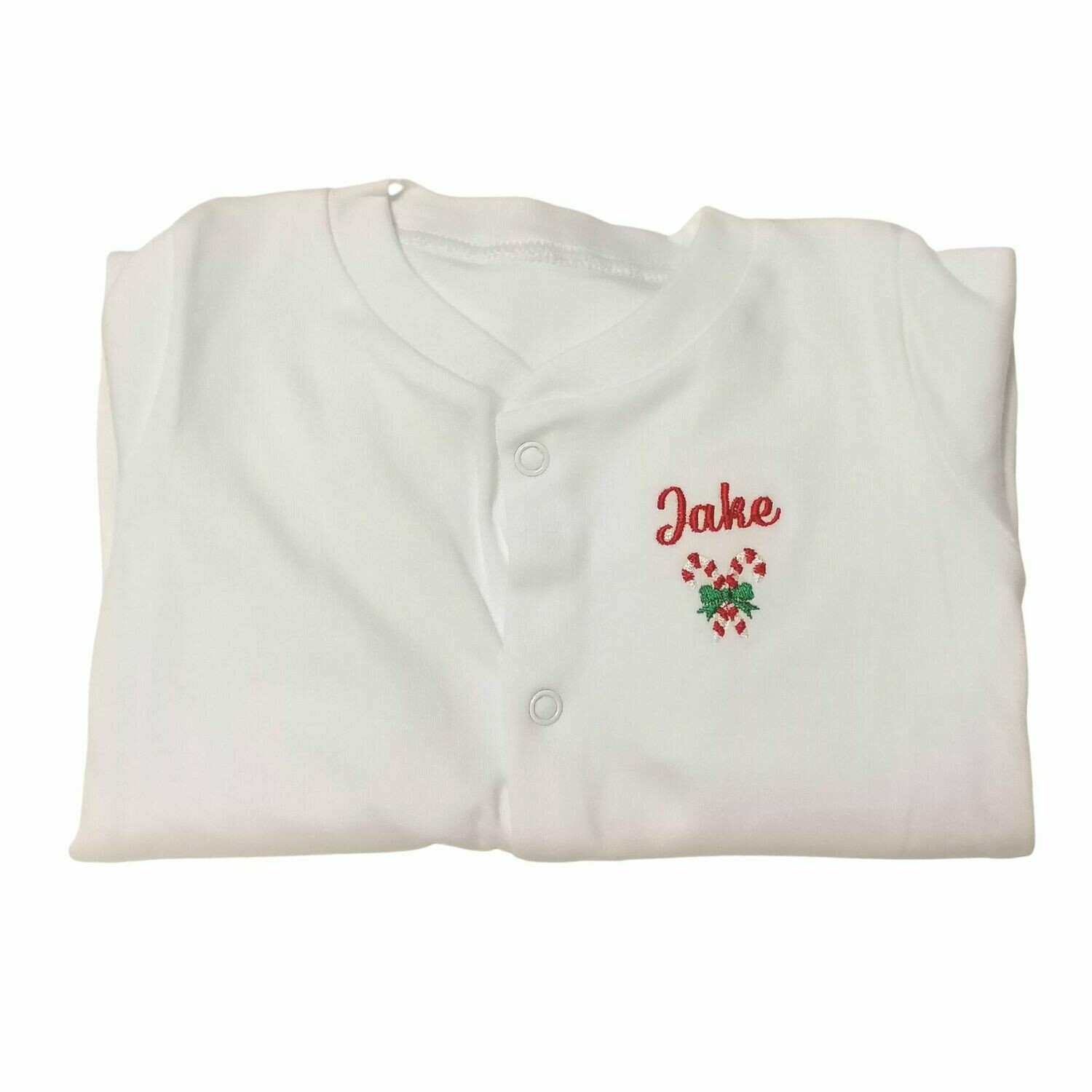 Personalised Baby Christmas Sleepsuit with Candy Canes