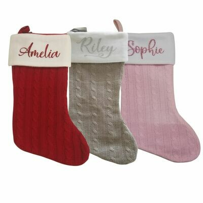 Personalised Christmas Stocking - Cable Knit