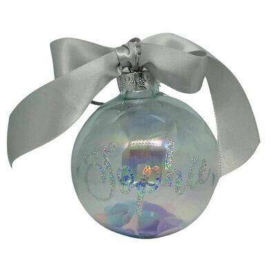 Personalised Christmas Bauble with Confetti - 8cm