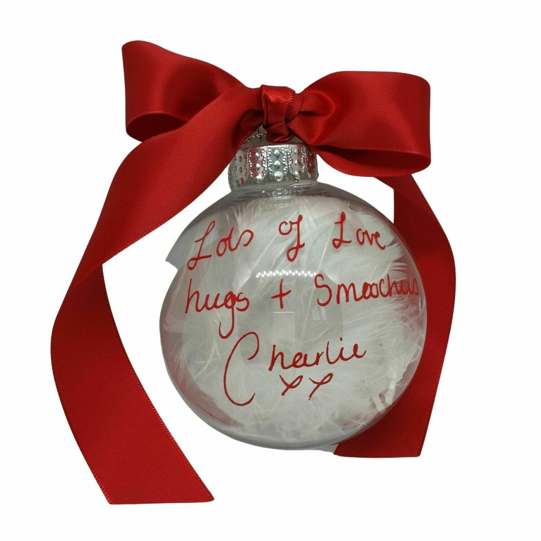 Personalised Handwriting Christmas Memorial Baubles