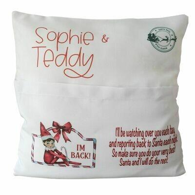Elf Pocket Personalised Christmas Cushion