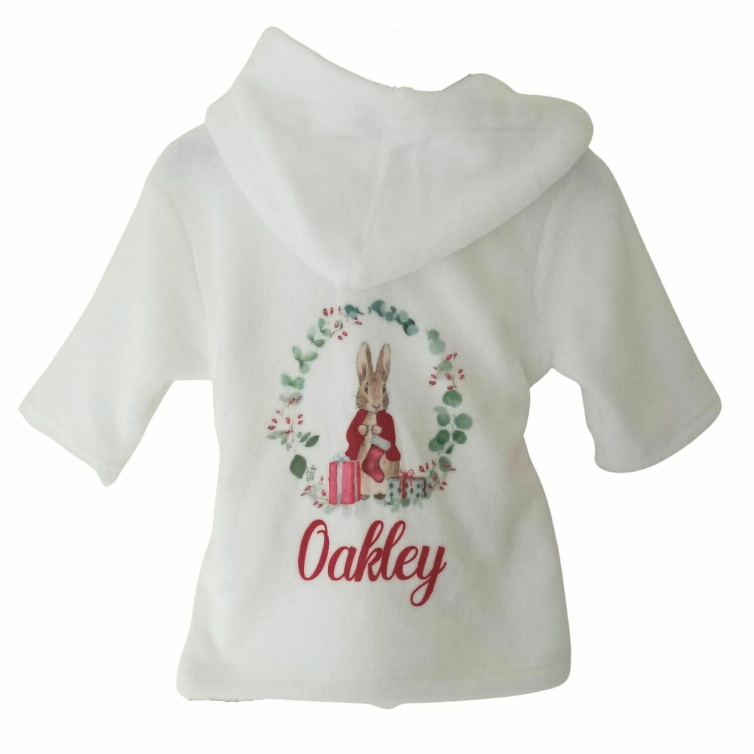 Personalised White Baby Christmas Dressing Gown