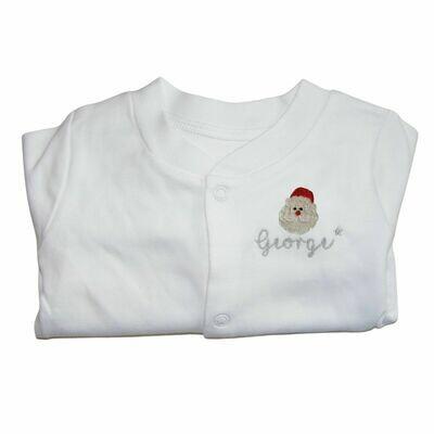 Personalised Christmas Sleepsuit with Santa & Name
