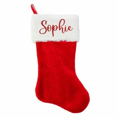 Personalised Fluffy Traditional Christmas Stocking