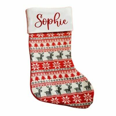 Personalised Nordic Reindeer Christmas Stocking