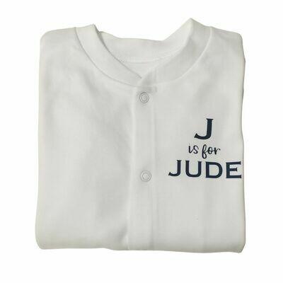Personalised Sleepsuit with Vinyl Initial & Name