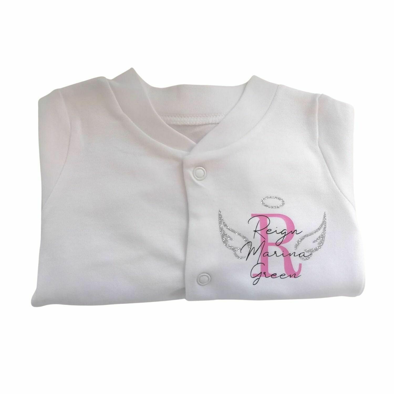 Angel Wings Personalised Baby Sleepsuit