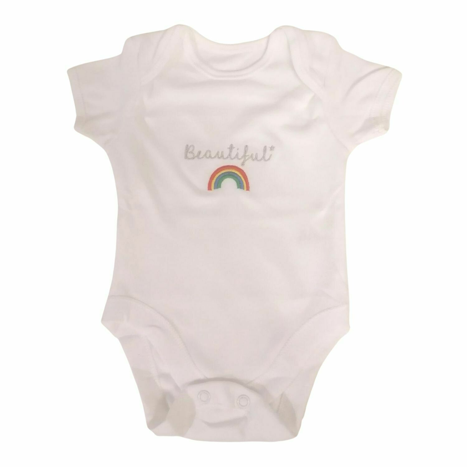 Personalised Baby Grow with Name & Rainbow