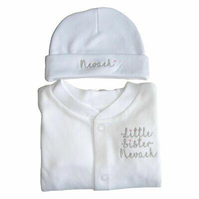 Personalised Matching Baby Set Sleepsuit & Hat