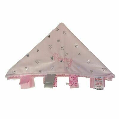 Personalised Baby Girl Comfort Blanket Pink Hearts