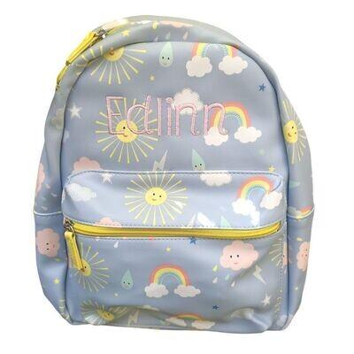 Personalised Girls Backpack with Sunshine & Rainbows