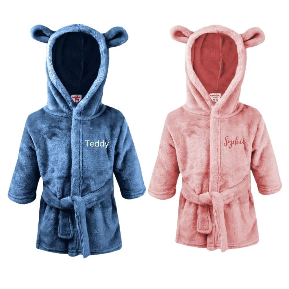 Personalised Baby Dressing Gown Bear Ears