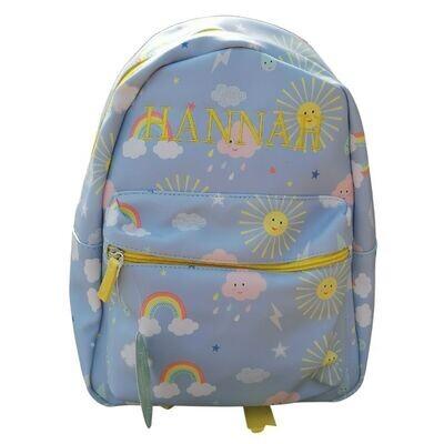 Personalised Girls Rainbow & Sunshine Backpack