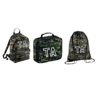 Personalised Children's Back to School Camo Bag Set