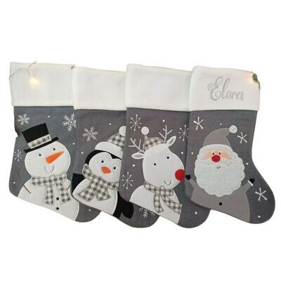 Personalised Knitted Christmas Stocking - Santa, Reindeer, Penguin, Snowman